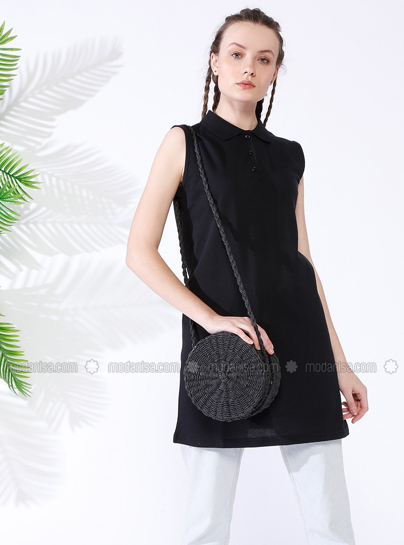 Black - Point Collar - Cotton - Tunic 237f15443