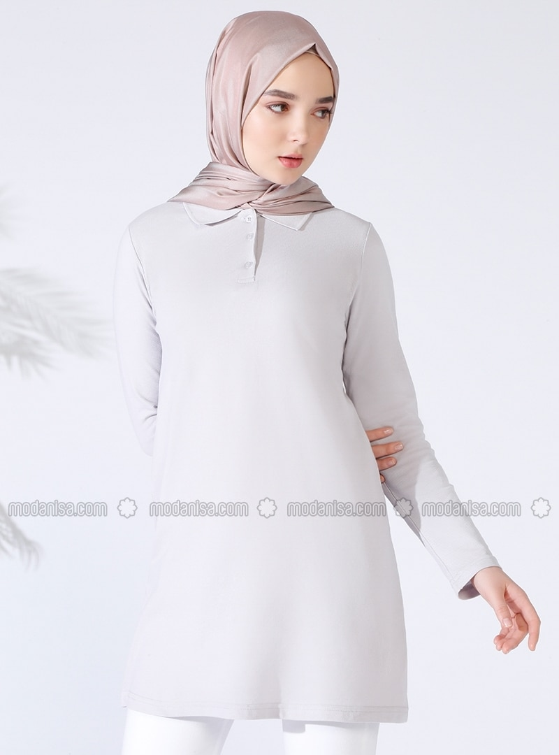 Purple - Point Collar - Cotton - Tunic
