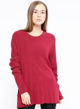 Maroon - Point Collar - Wool Blend - Jumper