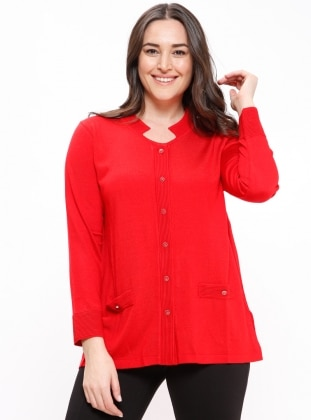 Red - Crew neck - Plus Size Cardigan