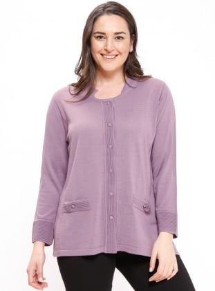 Purple - Crew neck - Plus Size Cardigan