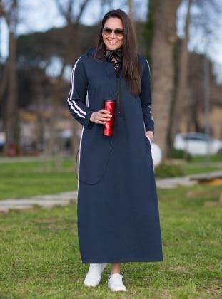 Navy Blue Ecru Unlined Cotton Plus Size Dress