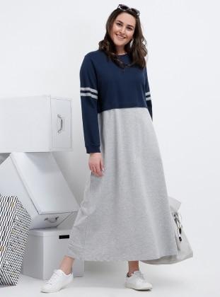 Navy Blue Gray Unlined Crew Neck Cotton Plus Size Dress