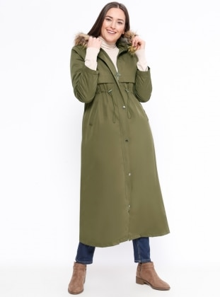 Khaki - Fully Lined - Plus Size Overcoat - Hanımsa