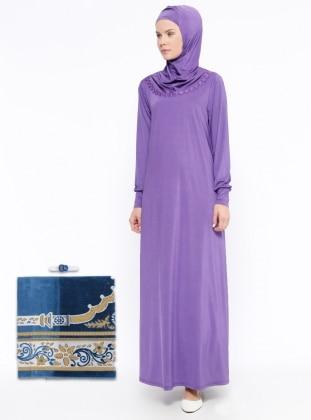 Tek Parça Namaz Elbisesi&Seccade&Zikirmatik Üçlü Takım - Lila - Ginezza Ürün Resmi