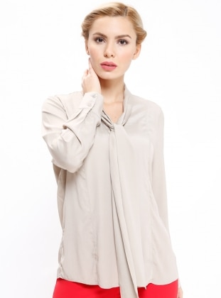 Beige - V neck Collar - Blouses