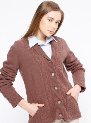 Brown - Shawl Collar - Wool Blend - Cardigan