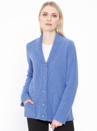 Blue - Shawl Collar - Wool Blend - Cardigan