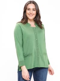 Green - Crew neck - Plus Size Cardigan