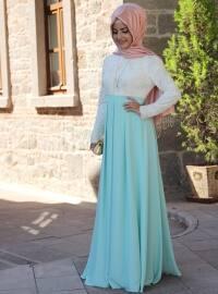 Dantel Pileli Elbise - Mint Yeşili - Pınar Şems