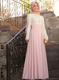 Dantel Pileli Elbise - Pudra - Pınar Şems