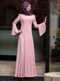 Volanlı Elbise - Pudra - Pınar Şems