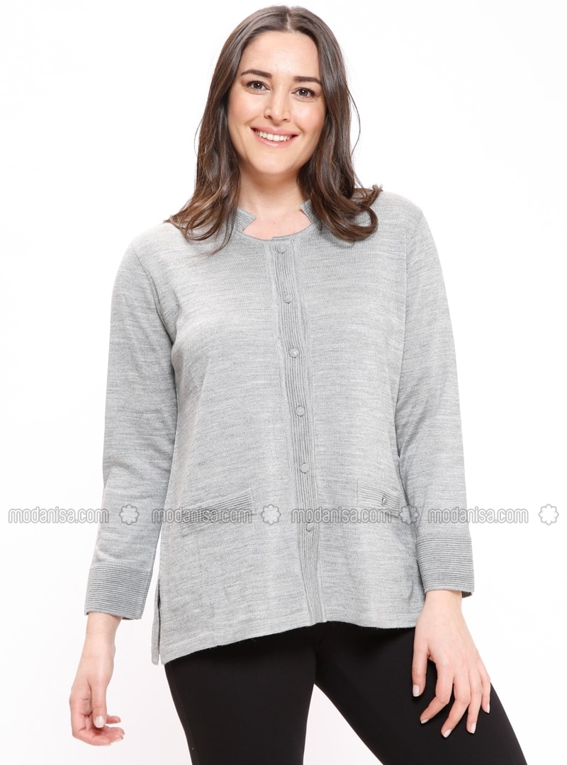 Gray - Crew neck - Plus Size Cardigan