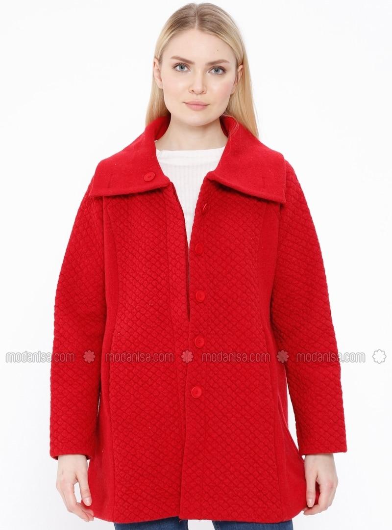 b73f942cb8d Red - V neck Collar - Wool Blend - Cardigan