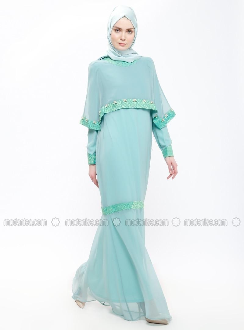 hochwertiges Design 38dd0 7103b Mintgrün - Grün - Rundhalsausschnitt - Mit Innenfutter - Hijab Kleid -  Think Fashion