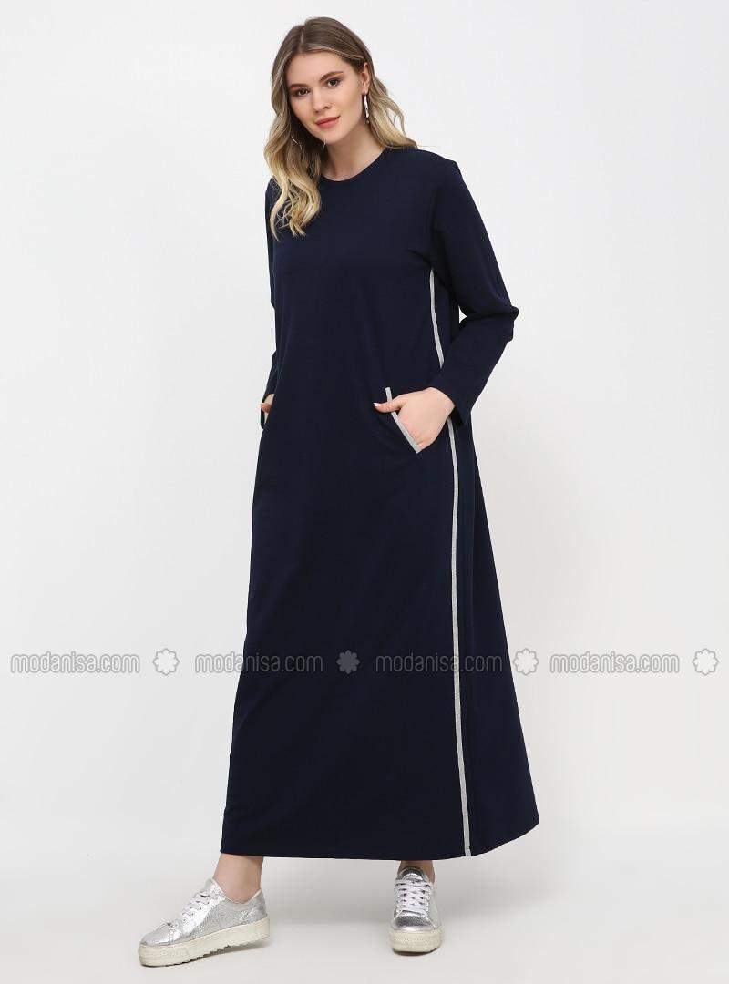 Navy Blue - Gray - Unlined - Crew neck - Cotton - Plus Size Dress