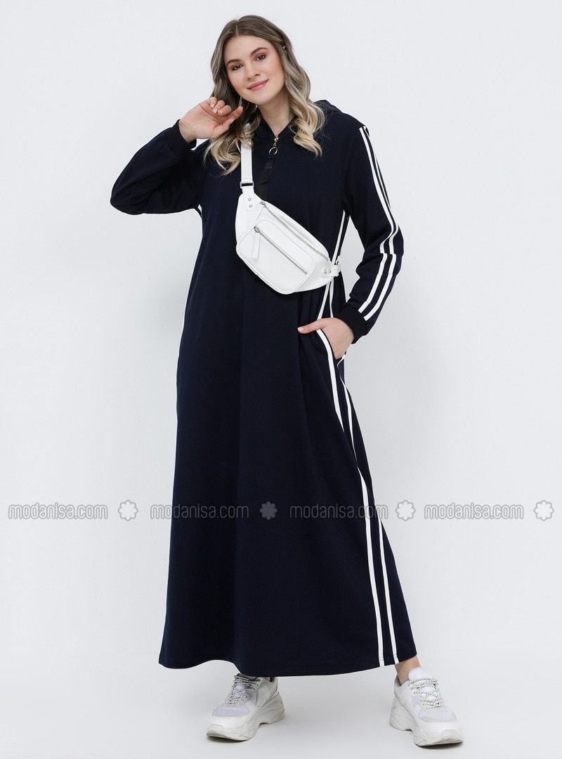 Navy Blue - Ecru - Unlined - Cotton - Plus Size Dress