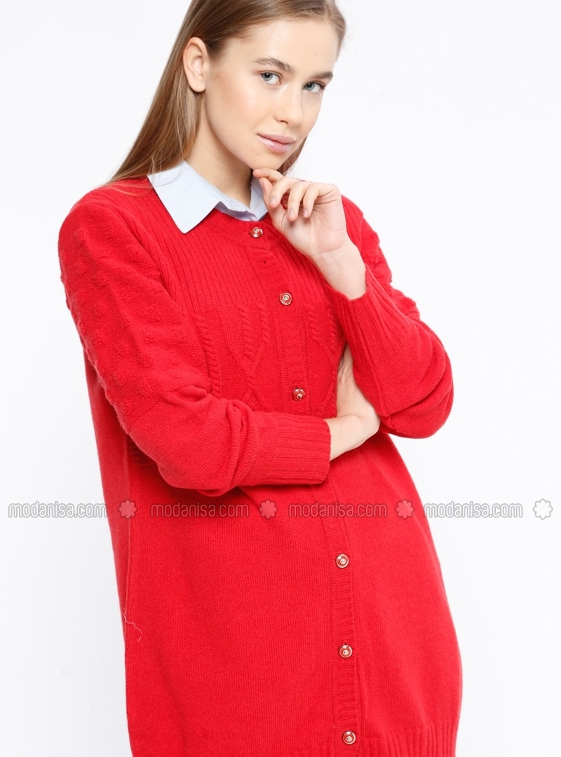 1ae110a4ad0 Red - Crew neck - Wool Blend - Cardigan