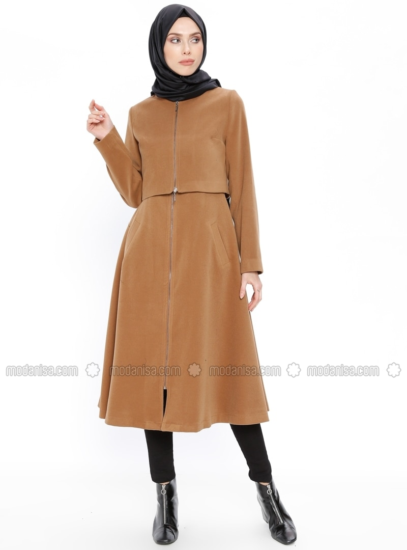 Camel - Fully Lined - Crew neck - Coat