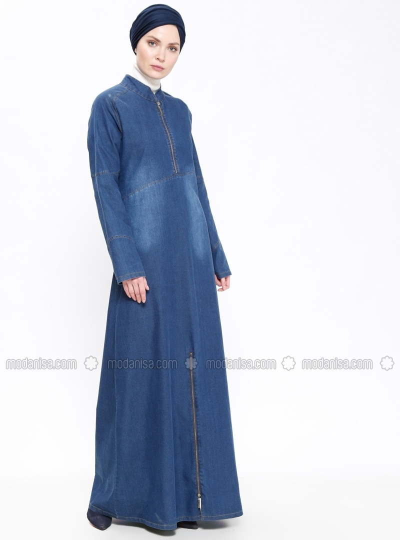 Bleu marine tissu non double col chinois jean robe for Robe col chinois
