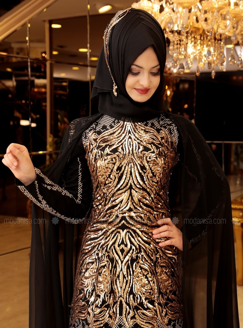 Robe de soiree noir et dore langue