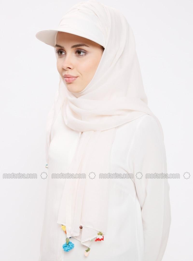 Ecru - Plain - Cotton - Instant Scarf