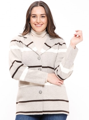 Shawl Collar - Stripe - Minc - Brown - Wool Blend - Plus Size Cardigan