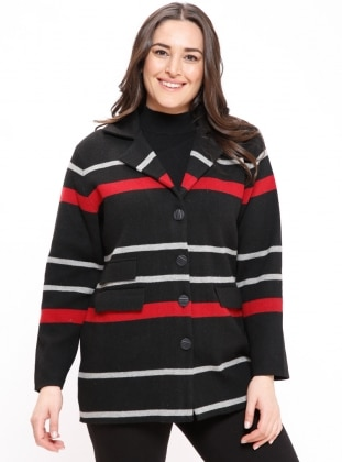 Wool Blend - Shawl Collar - Stripe - Gray - Black - Plus Size Cardigan