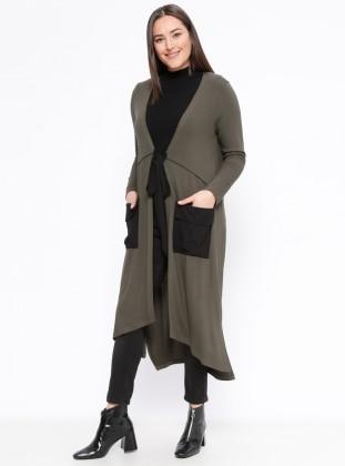 Khaki - Plus Size Cardigan - Zer Otantik