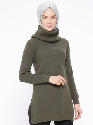 Khaki - Polo neck - Jumper
