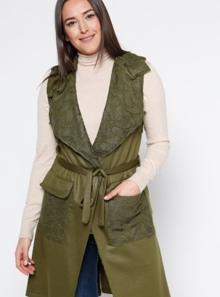 Khaki - Shawl Collar - Plus Size Vest