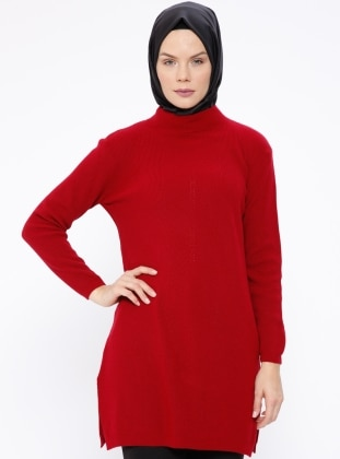 Red - Polo neck - Jumper
