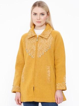 Yellow - Point Collar - Cardigan