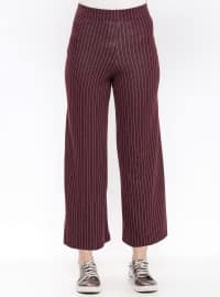 Maroon - Stripe - Pants