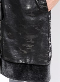 Black - Multi - Unlined - Polo neck - Plus Size Coat