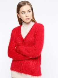 V neck Collar - Red - Wool Blend - Cardigan