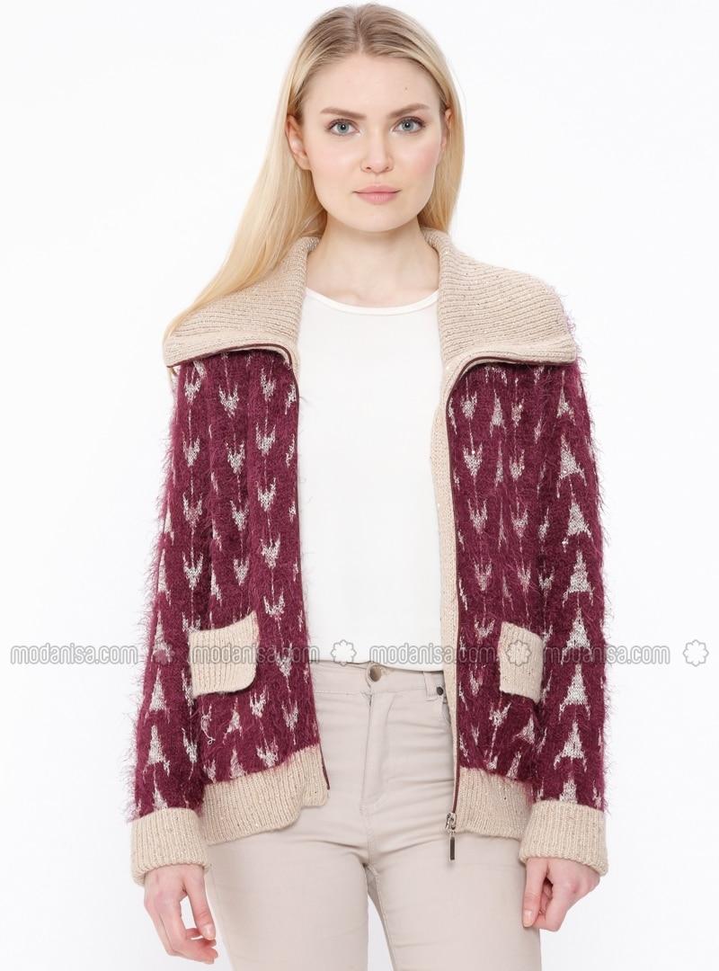 Wool Blend - Point Collar - Maroon - Minc - Cardigan