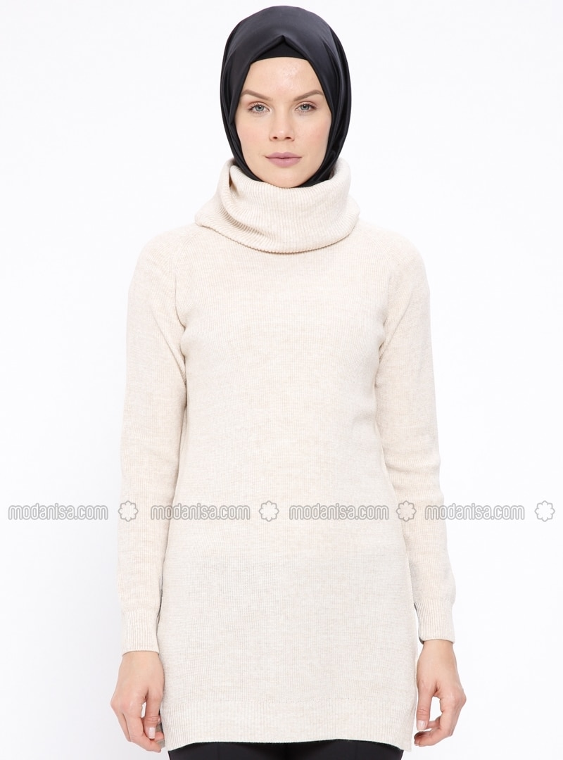 Beige - Polo neck - Jumper