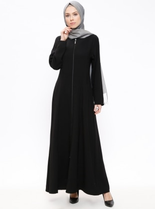 Black - Unlined - Crew neck - Abaya - ModaNaz 377754