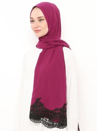 Black - Pink - Plain - Lace - Viscose - Shawl