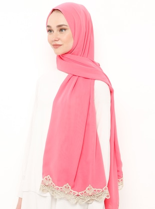 Pink - Gold - Plain - Lace - Viscose - Shawl