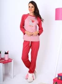 Avey Pijama Takımı - Kırmızı - Meliana