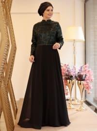 Işıl Abiye Elbise - Siyah Zümrüt - Saliha
