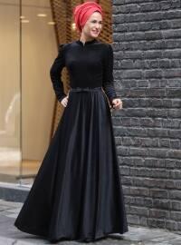 Kadife Elbise - Siyah - MİSS ZERA