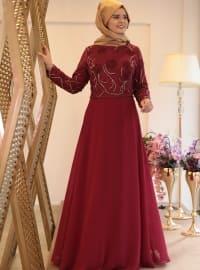 Saliha Nurcan Abiye Elbise - Bordo - Saliha