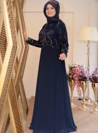 Saliha Nurcan Abiye Elbise - Lacivert - Saliha