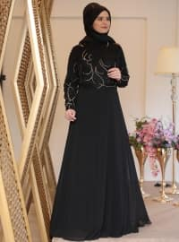 Saliha Nurcan Abiye Elbise - Siyah - Saliha