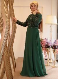 Saliha Nurcan Abiye Elbise - Yeşil - Saliha
