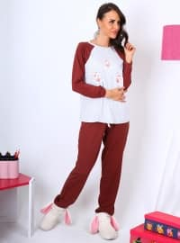Pijama Takımı - Bordo - Meliana