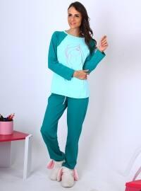 Reli Pijama Takımı - Yeşil - Meliana
